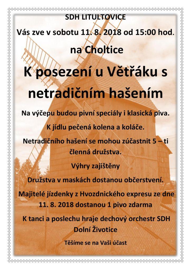 Plakát Posezení u Větřáku s netradičním hašením